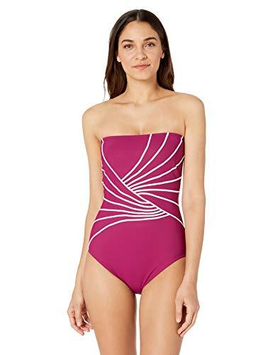 Gottex Women's Contrast Piping Solid Bandeau One Piece Swimsuit, Sinatra Wine/White, 14