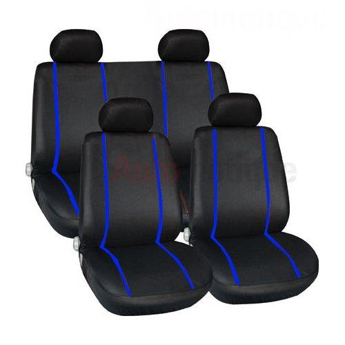 GRANDE PUNTO (06+) PREMIUM FULL CAR SEAT COVER SET BLUE PIPING