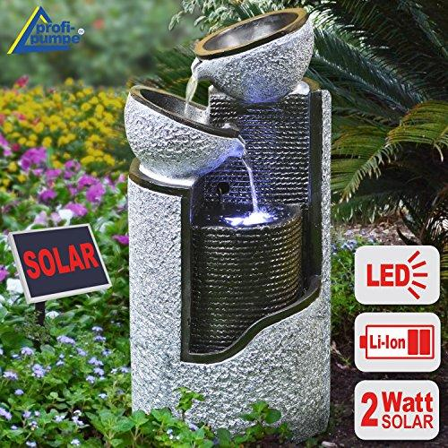 Granite Column and Bowls LED Solar Water Feature / Fountain / Bird Bath for Garden, Patio, Pond, Balcony - Highly Decorative, Improved Model with Instant-Start Pump Feature, LED Standing Garden Lamp, Li-Ion Battery