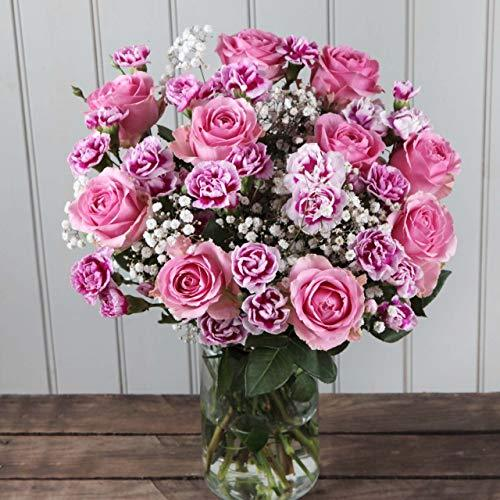 Great Value Flowers, A Hand Tied Bouquet of 10 Pink Roses and 10 Pink Carnations with Free UK DELIVERY and Next Day DELIVERY Available.- Summertime Flowers