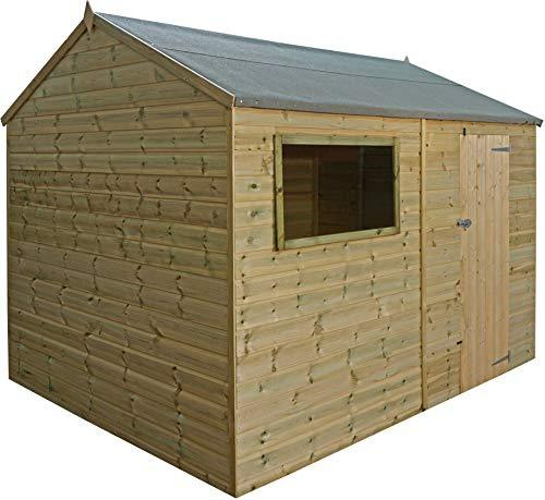 Green Planet - 12 x 8 Pressure Treated Reverse Apex Style Workshop Shed - FSC Sourced Timber, Styrene Glazed Shatterproof Glass, Mineral Felt Roof, Single Door (12x8 12ft x 8ft) FAST DELIVERY