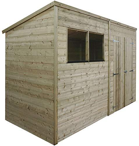 Green Planet UK - 10 x 6 Pressure Treated Pent Shed, Store, Garden Workshop - FSC Certified Timber, Double Doors, Styrene Glazed Safety Glass (10x6 / 10ft x 6ft) - 3-5 Day Delivery