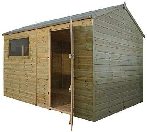 Green Planet UK - 10 x 8 Pressure Treated Reverse Apex Workshop Shed - FSC Sourced Timber, Fixed Styrene Glazed Windows, 12mm Shiplap Cladding (10x8 / 10ft x 8ft)