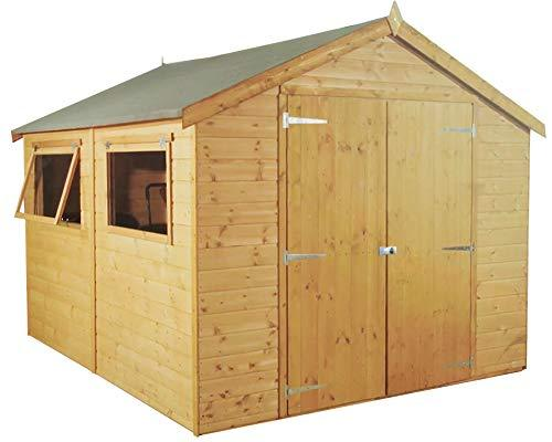 Green Planet UK - 10x6 Premium Shiplap Tongue & Groove Apex Style Shed, Workshop - FSC Sourced Timber, 12mm Cladding, Double Doors, Styrene Glazed Safety Glass (10x6 / 10ft x 8ft)