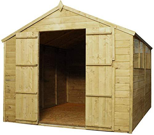Green Planet UK - 10x8 Pressure Treated Apex Shed - FSC Sourced Timber, Double Doors, Apex Style Roof, Styrene Glazed Windows (10x8 10ft x 8ft) FAST DELIVERY