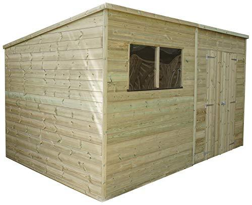 Green Planet UK - 12 x 6 Pressure Treated Pent Store, Shed, Garden Workshop - FSC Certified Timber, Styrene Glazed Safety Glass, Double Doors (12x6 / 12ft x 6ft) 3-5 Days Delivery