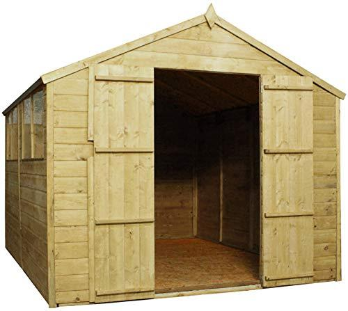 Green Planet UK - 12 x 8 Pressure Treated Apex Shed, Workshop - FSC Sourced Timber, Styrene Glazed Safety Glass Windows, Double Doors (12x8 / 12ft x 8ft) FAST DELIVERY