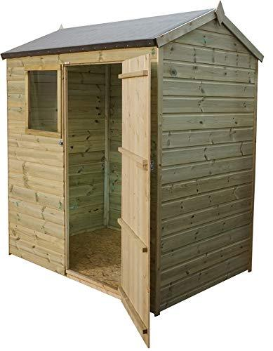 Green Planet UK - 6 x 4 - Pressure Treated Reverse Apex Style Shed - FSC Sourced Timber, Styrene Glazed Windows, 12mm Shiplap Cladding (6x4 / 6ft x 4ft) FAST DELIVERY