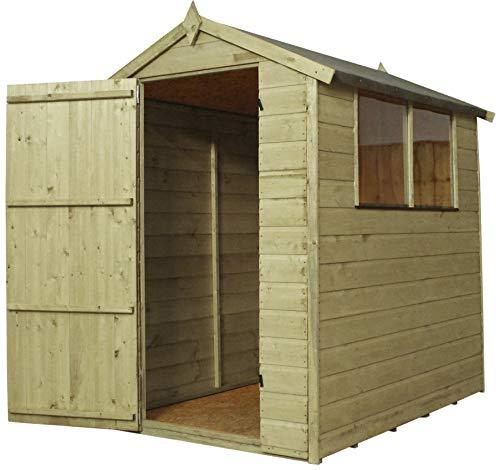 Green Planet UK - 6x4 Pressure Treated Apex Shed - FSC Sourced Timber, 28x28mm Framing, Styrene Glazed Fixed Windows, Apex Style Roof with Mineral Felt (6x4 / 6ft x 4ft) FAST DELIVERY