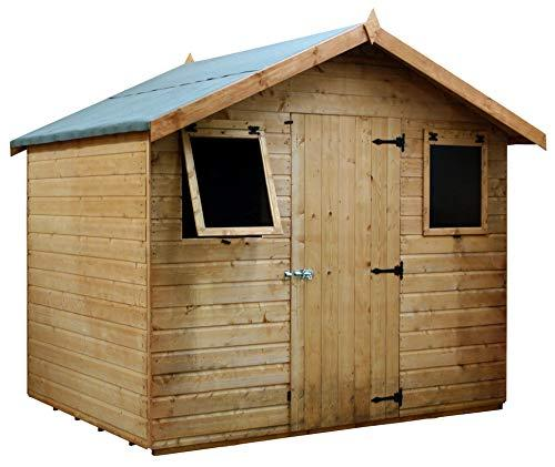 Green Planet UK - 6x8 Premium Shiplap Tongue & Groove Apex Garden Shed, Workshop - 12mm Cladding, Double Doors, Styrene Glazed, FSC Sourced Timber (6x8 / 6ft x 8ft) Fast Delivery