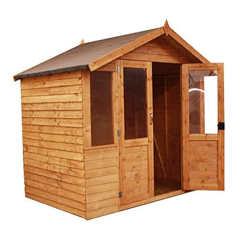 Green Planet UK 7x5 Wooden Overlap Traditional Summerhouse with Double Doors, Styrene Glazed Windows Apex Style Felt Roof and Floor Included (7 x 5 / 7ft x 5ft)