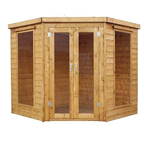 Green Planet UK 7x7 Corner Summerhouse with Double Doors, Lock and Key, Styrene Glazed Windows, 12mm Shiplap Cladding (7 x 7 / 7ft x 7ft) FSC Sourced Timber FAST DELIVERY