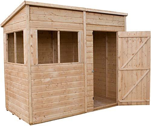 Green Planet UK - 8x4 Premium Shiplap Tongue & Groove Pent Shed - FSC Sourced Timber, Single Door, Fixed Styrene Glazed Windows (8x4 / 8ft x 4ft) Fast Delivery