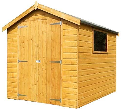 Green Planet UK - 8x6 Premium Shiplap Tongue & Groove Apex Garden Shed, Workshop - FSC Sourced Timber, Double Doors, Styrene Glazed Safety Glass (8x6 / 8ft x 6ft) - FAST DELIVERY