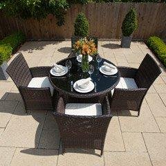 Greenfingers Moncafa Rattan 4 Armchair 105cm Round Patio Set