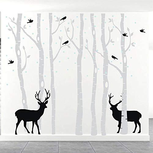 Grey Tree Wall Sticker - 7 Brich Forest for Living Room Kids Baby Nursery Removable Vinyl Tree Wall Decal Art Home Decoration 118.1x102.4""