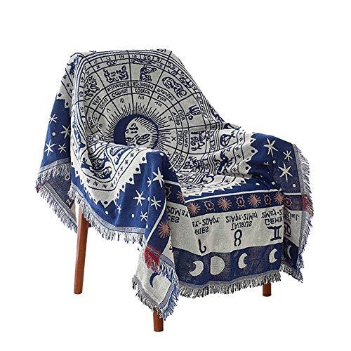 GSJJ Decorative Throw Blanket Sofa Armchair Bed, Bohemian Style, Jacquard Tassels, Cotton polyester Woven, Warm Slipcover beach Towel Tablecloth, Constellation pattern,White,90 * 180cm
