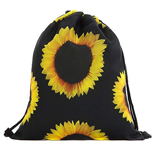 GSYDSDJBB 3PCS 3D Shopping Bag Backpack Drawstring Digital Print Bouquet Pocket Black Sun Flower Drawstring Bag Polyester 30cm*39cm