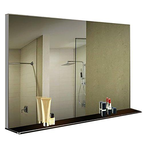 GUOWEI Mirror Rectangle HD Imaging With Shelves Wall-mounted Frameless Aluminum Alloy Bathroom Makeup (Color : BLACK, Size : 80x12x60cm)