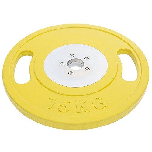 "Gym Fitness Workout Training 2"" Steel Olympic Weight Plates with Rubber Coating & Two Grip Design (Yellow, 15kg x 10 = 150kg)"