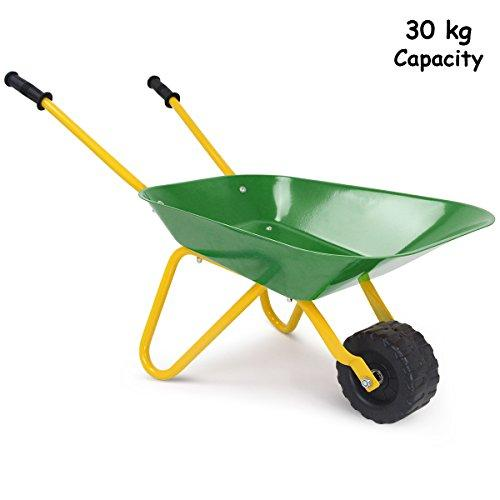 GYMAX Kids Metal Wheelbarrow Brick Toy Soil Garden Trolley (Green)