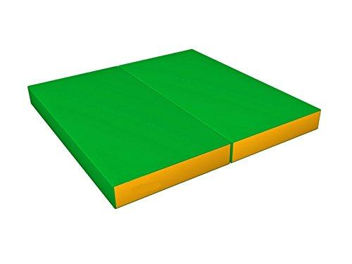 Gymnastics Folding Green/Yellow Soft Mat for Kids - Playground Indoor Matting - Children's Sport Large Washable Mats for Home Play - Non Slip Thick Mat for front Hallway - Cheap Fold Up or Foldable Home mats Springer - 100x100x10 cm