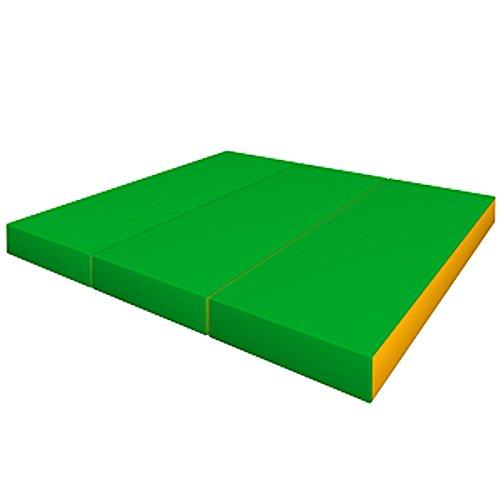 Gymnastics Folding Green/Yellow Soft Mat for Kids - Playground Indoor Matting - Children's Sport Large Washable Mats for Home Play - Non Slip Thick Mat for front Hallway - Cheap Fold Up or Foldable Home mats Springer - 150x100x10 cm