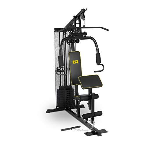 Gymrex Multi-Gym Machine 5-in-1 Home Fitness Workout Station Full Body Weights 30+ Exercises Strength Training Body Building GR-HG10 (Max. User Weight 120kg, Incl. 10x4.5kg Weight Plates)