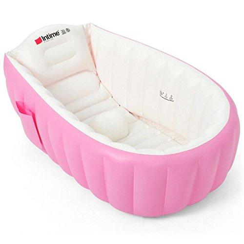 GZP-Original Swimming Pool Baby Inflatable Tub Folding Pool Baby Inflatable Bathtub PVC Material For 0-3 Years Old Baby,Pink,98*64*28CM