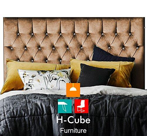 "H-Cube Furniture Royal Williamfield Upholstered Tufted Divan Bed Headboard Chenille Fabric - Diamante/Matching Buttons Various Heights (5FT King Size 24"" Mink Diamante Buttons)"