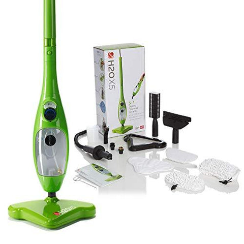 H2O Mop X5 5 in 1 Portable Steam Mop Multi Purpose Floor & Window Cleaner Carpet Steamer Garment Upholstery Oven Hob Steamer Upright & Hand Held Steamer Steam Jet (Green)