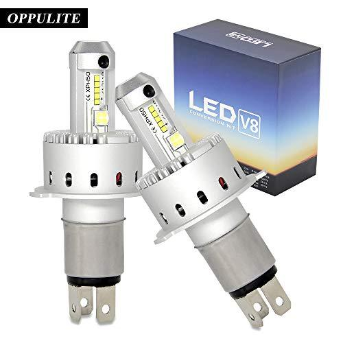 H4 LED Car Headlight Bulbs Kit Hi/Lo LED Headlight Kit Bulbs V8 XHP-50 40W 8000LM USA Chip HB2 9003 Car Auto LED Conversion Kit 12V 1 Year Warranty Replace for Halogen Lights or HID Bulbs Lamp V8-H4