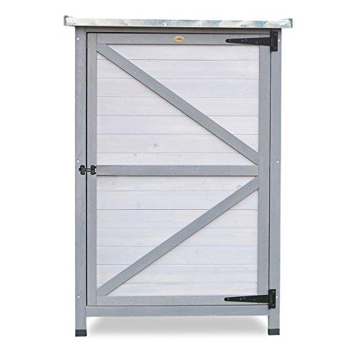 HABAU Zinc Sheet Garden Cupboard Flat Roof, White/Grey