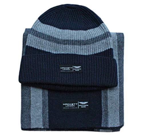 Hackett Men's Aston Martin Racing Cable Knitted Stripe Scarf/Beanie Gift Set (Navy/Grey)