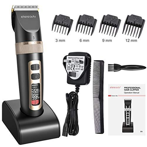 Hair Clippers Set for Men, ETEREAUTY Professional Cordless Hair and Beard Trimmer Ultra Quiet Hair Clipper Rechargeable with Ceramic Blade/LCD Display/Guide Combs for Men Kids and Family Haircut