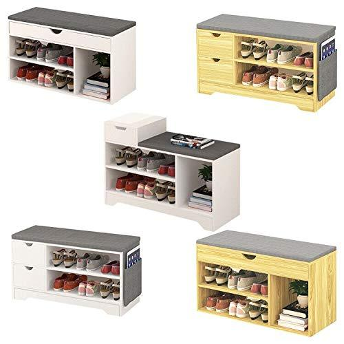 Hallway Shoe Storage Bench,Shoes Cabinet White/Oak Shoe Rack with Drawer and Seat Cushion Wooden (Beech 2 Drawers)