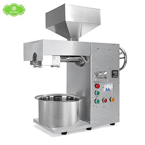 Hanchen Desktop Full Stainless Steel Commercial Automatic Oil Expeller Press Machine for Pitted Nut Seed Olive (220V)