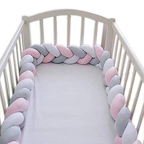 Handmade Baby Braided Crib Bumpers Knotted Braided Plush Nursery Cradle Decor Bedding Newborn Gift Cot Braid pad Protector-White+Gray+Pink 300cm(118inch)