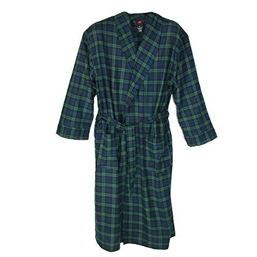 Hanes Men's Cotton Flannel Dressing Gown with Pockets, XL/2XL, Green