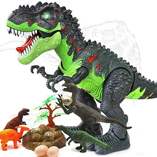 HANMUN Walking Dinosaur Toy Electronic Toys Green Walking Tyrannosaurus Rex Dinosaur With Lights & Sounds, Real Movement