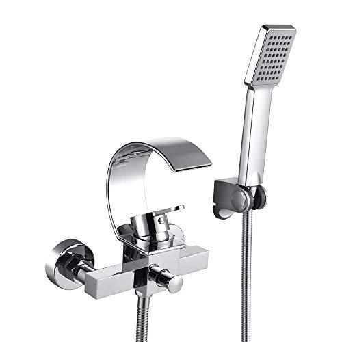 Hanpure Wall Mounted Bathtub Waterfall Faucet With Hand Shower Bath Tub Mixer Taps Lavatory Bath Shower Faucet with Shower Arm Mount Hole Bathroom Shower System Set Ceramic Valve Included