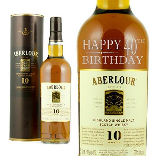 Happy 40th Birthday Engraved Bottle Of Aberlour Whisky 70cl