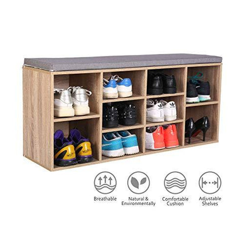 HAPPY & HOME Wooden Shoe Storage Bench Shoe cabinet with Seat Cushion 10-Grids for Living Room Hallway Entrance (104 * 30 * 48 cm-Wood)