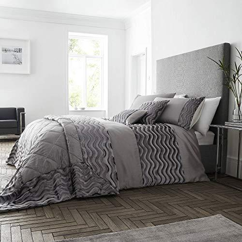 Happy Linen Company Crushed Velvet Wave Effect Panel Luxury Slate Grey King Duvet Cover Bedding Set