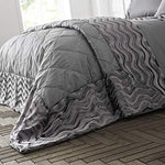 Happy Linen Company Crushed Velvet Wave Effect Panel Luxury Slate Grey Quilted Bed Throw