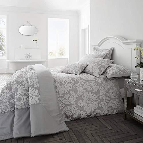 Happy Linen Company Luxury Jacquard Floral Damask Flock Slate Grey Double Duvet Cover Bedding Set