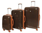 Hard Shell 4 Wheel Spinner Expandable Suitcase Travel Luggage Lightweight Belmont Brown (Full Set 3 Sizes)
