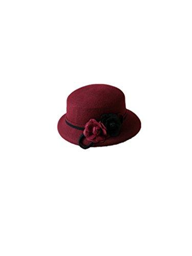 Hat Hat Autumn And Winter Black And White Small Incense Flowers Bowls Hat Hat Wool Hat,Burgundy