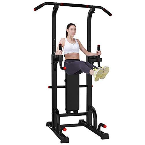 Havanadd-Sports Workout Station Dip Stands Power Tower Capacity Pull Up Bar Tower Dip Stands Fitness Gym Office Strength Training Equipment (Color : Black, Size : 149 * 63 * 13CM)