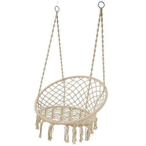 HB.YE Handmade Macrame Beige Baby Swing Chair, Outdoor Patio Hammock Chair with Tassel, Cotton Rope Braided Hanging Swing Seat Boho Nursery Room Decor - 19.7x11.8